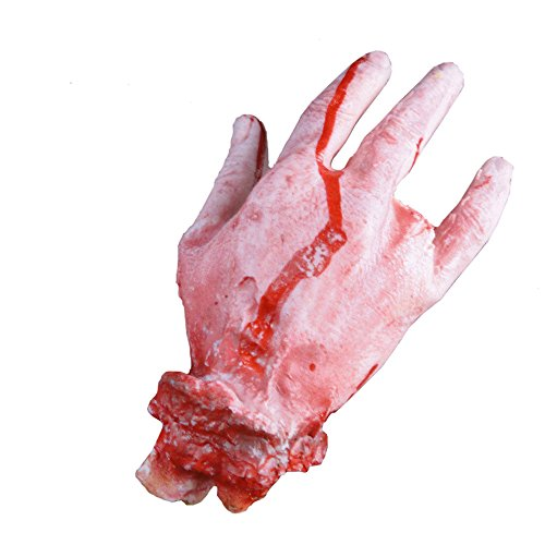 OdeJoy Halloween Grusel Requisiten Blutig Hand Party Dekoration Halloween Party Prop Scary Horror Blut Fake Broken Hand Trick Requisiten Broken Hand Broken Foot Requisiten (Rot, 1 PC)