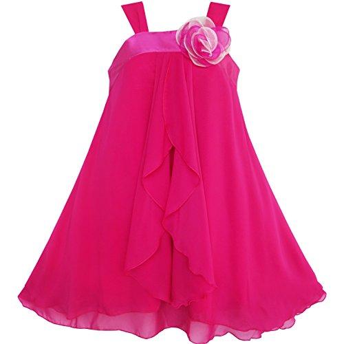Mädchen A-linie Kleid (Mädchen Kleid A-linie Halfter Blume Multi Schicht Chiffon Gr. 158)