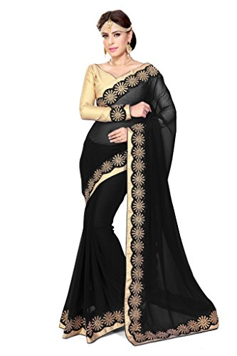 SOURBH Women's Faux Georgette Saree (433_Black)