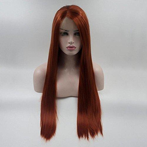 OOARGE Perücke langes gerades Haar rote Farbe seidige gerade synthetische Spitze-Frontseiten-Perücken für Frauen , red , (Themen Erwachsene Für Kostüme Wasser)