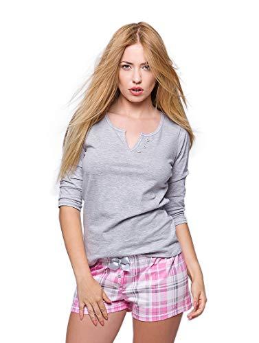 SENSIS wunderschönes Nachtwäsche-Set (Made in EU) als Shorty oder Pyjama aus 100% Baumwolle, Shorty 3/4-Arm Grau/Pink kariert, Gr. L (40) -