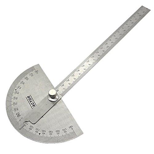 UEETEK Multifunktionale Edelstahl 180 Grad Winkelmesser Winkel Finder mit Arm Messung Messen Falten Lineal Winkel Ingenieur Winkelmesser für Malerei Zeichnung Messinstrument Lineal Werkzeug (Armee-ingenieure)