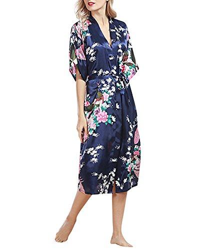 Damen Morgenmantel Kimono Lange Satin Pfau und Blüten Morgenmantel Robe Marine - Für Lange Fleece-roben Frauen