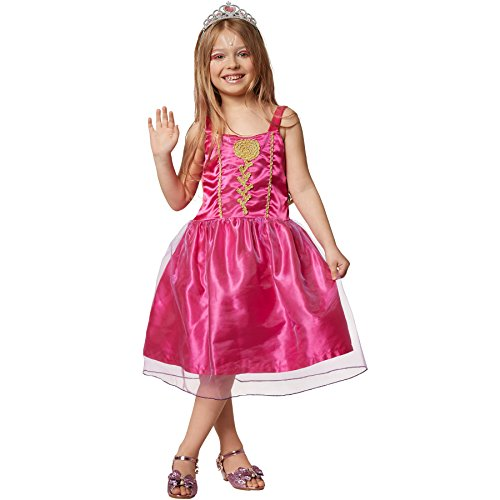 dressforfun 900350 - Mädchenkostüm Prinzessin pinke Rose, Kleid mit einer aus goldenen Stickereien stilisierten Rose, mehrlagiger Rock aus feinem Stoff und Tüll (140 | Nr. 301739)
