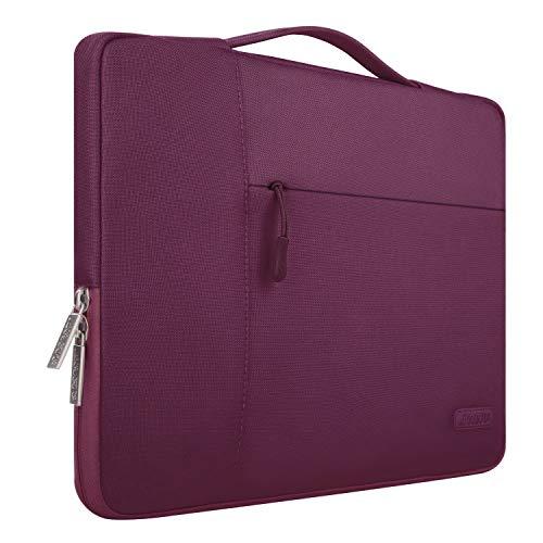 MOSISO Tasche Sleeve Hülle Kompatibel mit 13-13,3 Zoll MacBook Air, MacBook Pro, Notebook Computer, Polyester Multifunktion Laptoptasche Aktentasche Handtasche, Weinrot