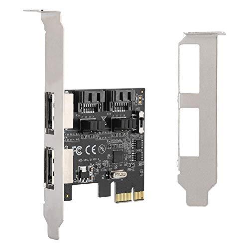 Diyeeni Adapterkarte mit Chip ASMEDIA ASM1061,750MB / s (6,0 Gbit/s) Unterstützung für 2,5 Gbit/s PCI-E-Bus-Vollduplex-Kanäle für SATA/ESATA 3.0 Riser-Karten mit 4 Ports 4-port Single Line