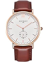 DISTRICT London Oxford Edition Mens Watch - Slim Light Brown Leather Band Quartz Rose Gold Wrist Watch Luxury Classic Simple Casual Design White Dial Watch - Business Fashion Unisex Thin Dress Watch.