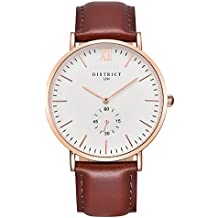 Montre à quartz mixte Bermont, édition Oxford - Bracelet fin en cuir marron et or rose, cadran blanc - Modèle de luxe classique, style simple, affaires et décontracté