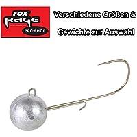 Fox Rage Jigköpfe Round Jigs Jighaken, Jigkopf für Gummifische, Verschiedene Größen & Gewichte zur Auswahl, Kunstköder Gr. 1, 1/0, 2/0, 3/0, 4/0, 5/0, 6/0