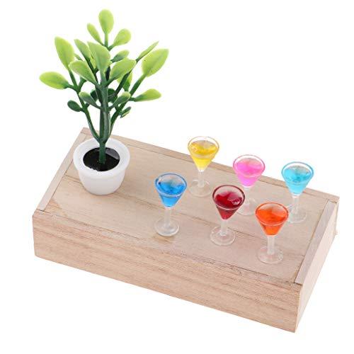 Baoblaze Puppenhaus Esszimmer Dekoration Zubehör - Mini Holzkiste + Grüne Pflanze + XO Weinflasche/ Cocktailglas/ Becher Modell - # B - B Becher Modell