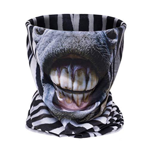 Unisex, Multifunktions, Antibakterielle Nackenwärmer, Winddicht, Resist Staub, Komfortable, Leichte Schal, Festival Party-Maske, Outdoor-Sport Nackenschutz (Zebra Gesicht) ()