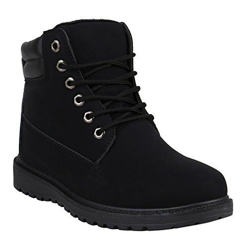 Herren Worker Boots Gefütterte Outdoor Schuhe Profilsohle 151867 Schwarz Carlet 43 Flandell