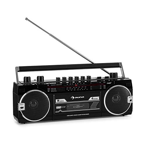 auna Duke MKII Kassettenrekorder - Bluetooth, Direct Encoding von Kassette auf USB/SD, 4-Band Radio: FM, MW, SW1, SW2, Teleskopantenne, USB, SD Card Slot, Netz- oder Batteriebetrieb, schwarz