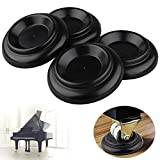 Piano Caster Cups Set of 4 Furniture Leg Pads Protection ABS Black