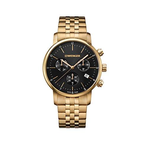 WENGER Reloj Cronógrafo para Unisex de Cuarzo con Correa en Acero Inoxidable 01.1743.103