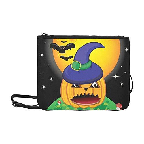 n Kürbis Halloween Card Bat Benutzerdefinierte hochwertige Nylon Slim Clutch Cross Body Bag Schultertasche ()