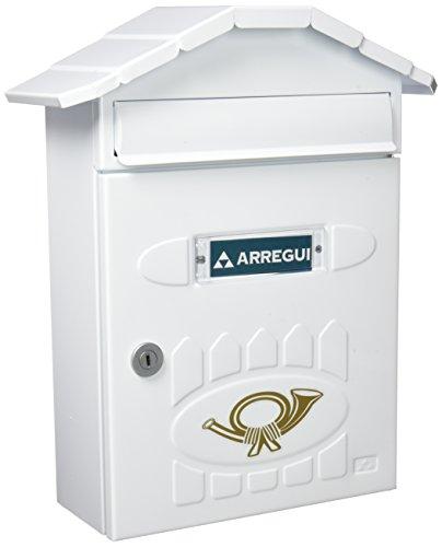 Arregui villa-cassetta delle lettere per esterni in acciaio, 360x 298x 120mm, bianco, e5001