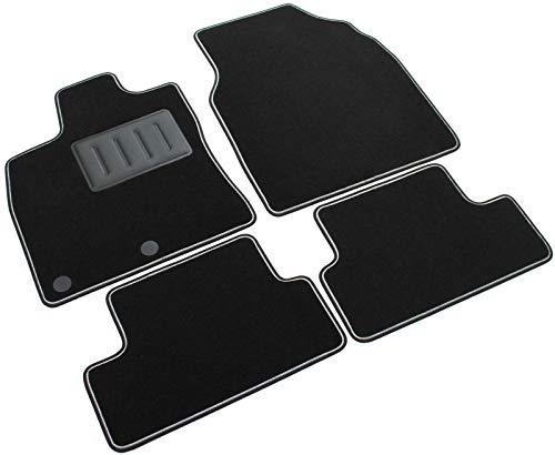 Il Tappeto Auto Sprint03302, Auto-Fußmatten, schwarz, Rutschfest, zweifarbiger Rand, verstärkter Absatzschoner aus Gummi, Qashqai 2007>2013