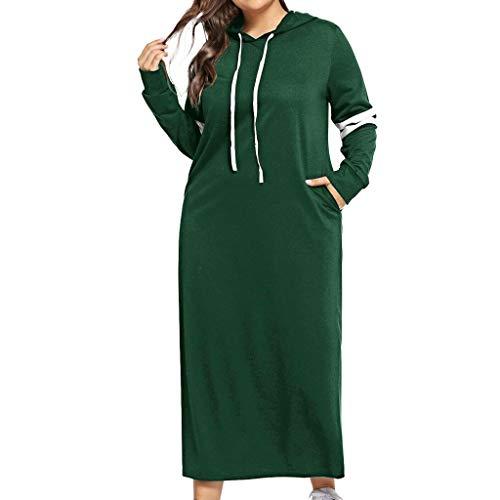Zylione Hooded Kleid Shirtkleid Locker Pullover Kleid mit Kapuze Langarm Maxikleid mit Streifen Umstandskleid Casual T-Shirt Kleid Lange Kleider XL-5XL Herbst Winter Warm Sweatshirt Elegant Langarm
