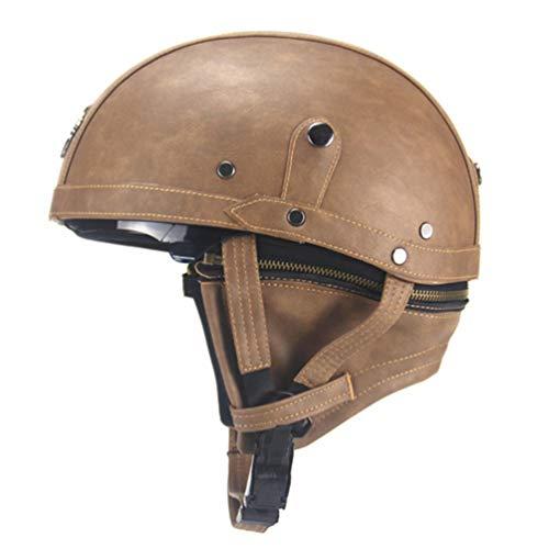 Qianliuk casco motociclista mezza pu in pelle retro visiera casco con motore a metà fronte aperto con doppia lente