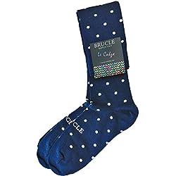 BRUCLE Calcetines alta elegantes hombre, algodón, otoño invierno, made in Italy, lunares azul
