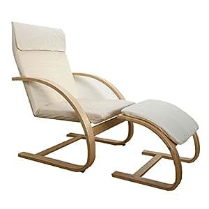 Schwingsessel Freischwinger Sessel mit Hocker in natur