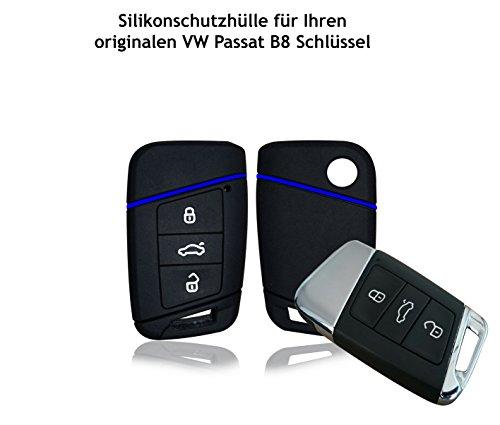 Wagners Hülle für VW Passat B8 Typ 3G 3-Tasten Autoschlüssel - Silikon Schlüssel Schutzhülle in Schwarz - Etui Schlüsselhülle Cover für Keyless - Go (schwarz/blau) Silikon-schutz