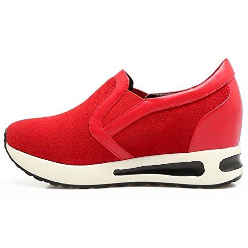 wealsex Mocassin Compensées Basket Basse sans Lacets Satin Plateforme Semelle Epaisse Chaussures Outdoor Confort Casuel Femme 40 41 42 Rouge