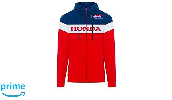 Honda Racing Hoodie ZIP  Sweatshirt Screen Print Mens Hoodie Red Logos