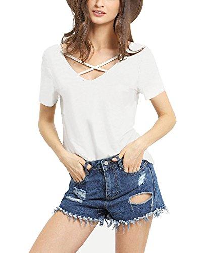 Suimiki Damen Sommer Kurzarm T-Shirt V-Ausschnitt mit Schnürung Vorne Oberteil Tops Bluse Shirt-WHXL