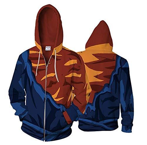 Kapuzenpullover Dragon Ball Goku Cosplay Männer 3D Gedruckt Sweatshirt Kostüme Zip Strickjacke Hoody Cartoon Kapuzenpullover Jacken Gelb 5XL -
