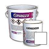 Pintura Epoxi Bicomponente Alimentaria Nazza | Esmalte certificado para uso alimentario y sanitario | Apta para estar en contacto con alimentos y bebidas | Color Blanco | 2,4 L + 1 L
