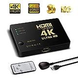 Farraige HDMI Switch 4K Intelligent 3-Port HDMI Switcher, Splitter, Supports Full HD1080p, 3D