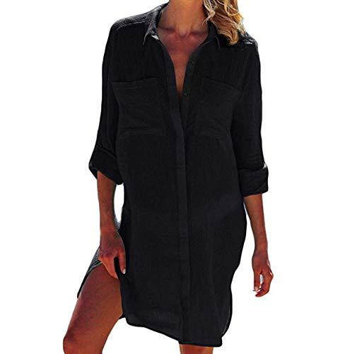 Damen Blusen Beiläufig Langarm Volltonfarbe V-Ausschnitt Longshirts Bluse Oversize Strand Hemd Tunika Tasche Oberteil Shirtkleid 3/4-Ärmel Sommerbluse TWBB -