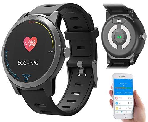 newgen medicals Fitnessuhr: Fitness-Uhr mit Bluetooth, Herzfrequenz- und EKG-Anzeige, App, IP67 (Blutdruck Uhren) - Fitness-bluetooth-uhr