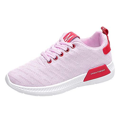 UOFOCO Freizeit-Sneaker für Damen, atmungsaktiv, Netzstoff, Fitness, Laufen, Sport, Pink (Rose), 36 EU