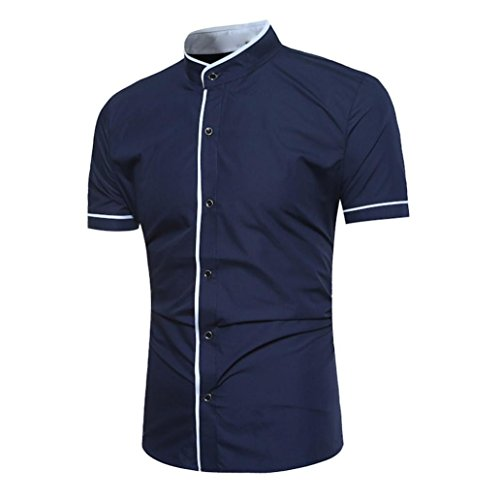 T-Shirt mit Kleinem Kragen Slim Fit Herren Poloshirt Baumwolle Tops,Marine,XL