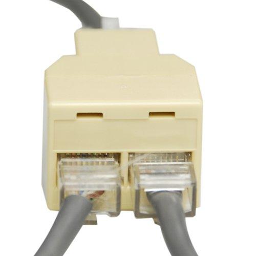 tinxi® RJ45 Splitter Y-Verteiler Netzwerk LAN ISDN Adapter Ethernet Patch Kupplung 8 polig Eingang zu 2 x 8 pol Ausgang für 10/100MBit Netzwerke oder ISDN Telefon-Netz