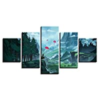 WHdazhuan Art Canvas Painting 5 Piece Umbrella Forest Mountain Landscape Picture Decoration Living Room Wall Hd Poster