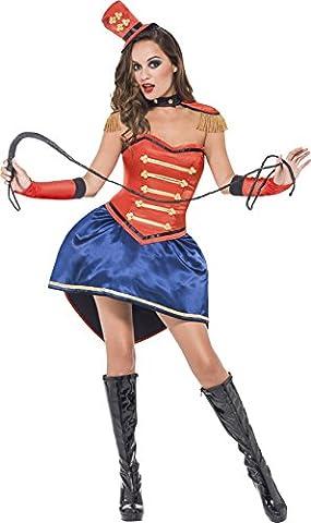 Smiffys - SM39996/M - Costume De Dompteuse Haute Qualité Collection Fever - Rouge - Avec Jupe - Corset - Chapeau - Col - Épaulettes et Gants - Taille M