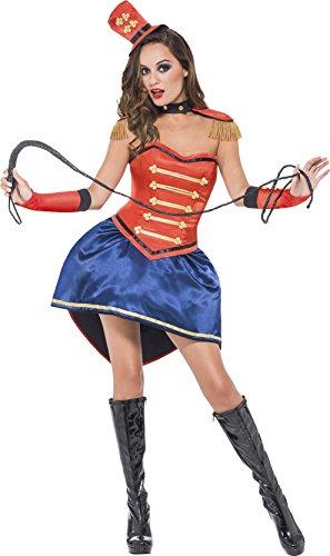 Smiffys Disfraz de maestro de ceremonias, rojo, falda, corsé, gorro, cuello, charreteras