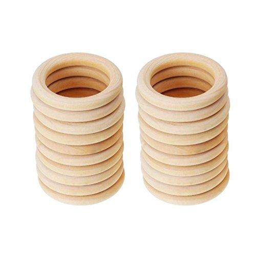 VADOOLL 20 Stück Holz Ringe Hölzern Ringe für Handwerk, Ring Anhänger und Anschlussstück Schmuck Machen (70 mm)
