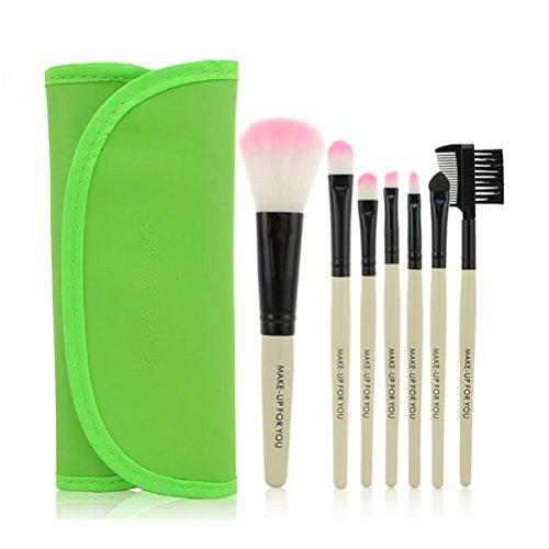 PIXNOR 7 Pièce Pinceaux de Maquillage Brosse Cosmétiques + PU Cuir Étui Pochette (Vert)