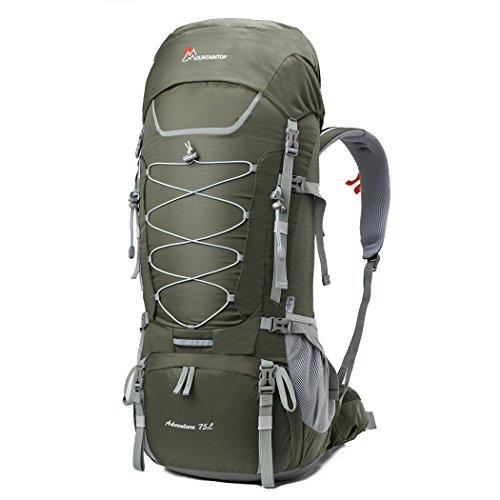 Mountaintop 75L Mochila de Senderismo Impermeable Multifunción Mochila Trekking con Cubierta de Lluvia76*31*25CM