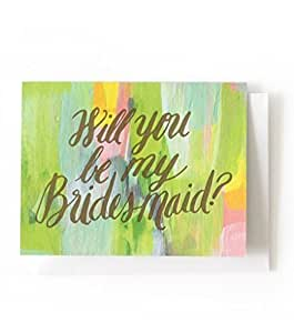 Box Of 8 Will You Be My Bridesmaid?(+ Letterpress) A2 Card