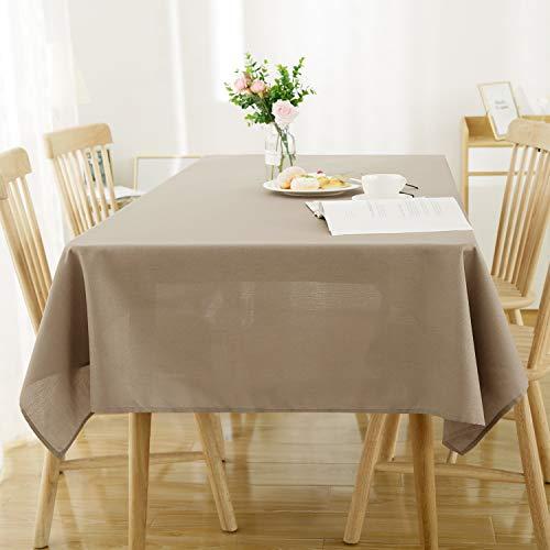 Deconovo Nappe Carree Exterieur Effet Lin Imperméable Decoration Table 130x130cm Taupe