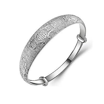 JMT Diseño clásico plateado brazalete plata 925 pulseras mujeres ajustable marca brazalete por JMT