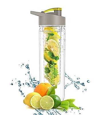 Premium Fruit Infuser Water Bottle Trinkflasche | Ideal fürs Gym & Fitness | Infused Water Bottle für Detox | Trink-Flasche mit Obst-und Gemüse-Einsatz im Wasser für strahlende Gesundheit und einen fitten Körper | Water Bottle Infuser für Ingwer, Gurke un