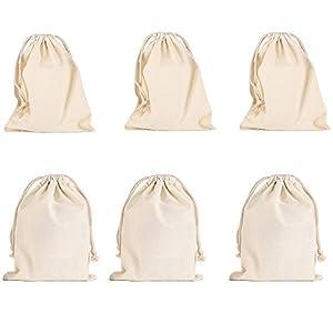Baumwollbündel Drawstring Taschen,6 Stück Kleine Beutel Hochzeitstasche Geldbeutel Geschenkbeutel Geburtstagstasche (20 * 30cm)