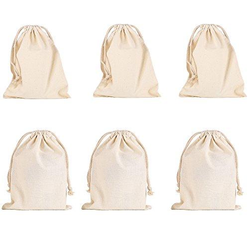 6 Stück Baumwollbündel Drawstring Taschen Kleine Beutel Tasche Geldbeutel Geschenkbeutel Geburtstagstasche 20 x 30cm (Kleine Stoff-taschen)